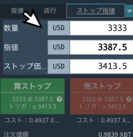 数量・指値・ストップ価格